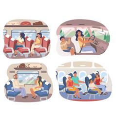 Passengers inside various transport means vector