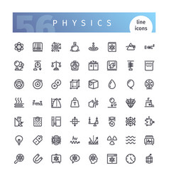 Physics line icons set vector