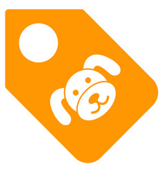 Puppy tag flat icon vector