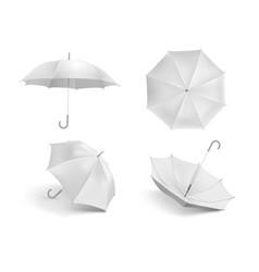 realistic white umbrella mockup blank open fabric vector image