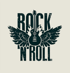 Rock and roll music banner with guitar and wings vector