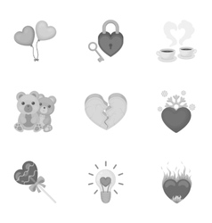 Romantic set icons in monochrome style Big vector