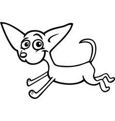 running chihuahua cartoon for coloring vector image