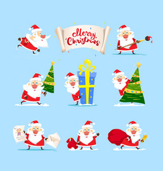 santa claus collection merry christmas tree vector image