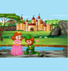 Scene with prince and princess at castle vector