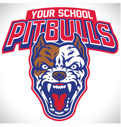 School mascot of pitbull dog vector