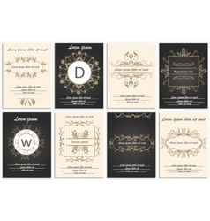 Set cards ornamental logos vector image vector image