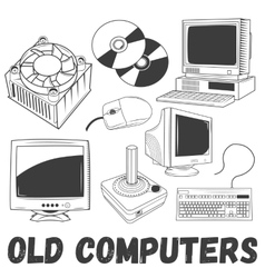 set electronic products and old vector image