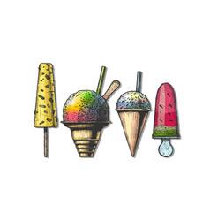 set frozen dessert vector image