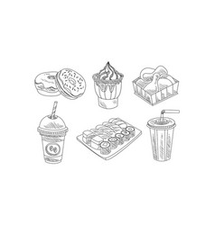 set hand drawn fast food and beverages vector image