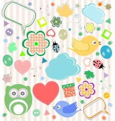 Set of elements - owls birds flowers ladybugs vector image