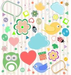 Set of elements - owls birds flowers ladybugs vector image