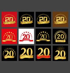 Set of number twenty 20 years celebration design vector