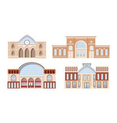 set railway stations building facade modern vector image