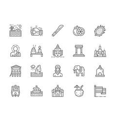 Set thailand culture line icons machete muay vector