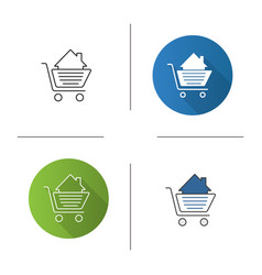 shopping cart with house inside icon vector image