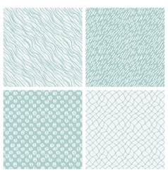 simple hand-drawn seamless patterns set vector image