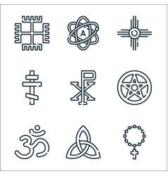 Spiritual symbols line icons linear set quality vector