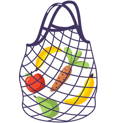 String bag with vegetables and fruits eco vector