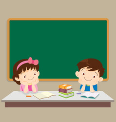 Students boy and girl sitting in front of vector