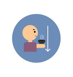 Stylish icon in color circle man drinking hot vector