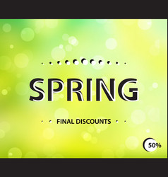 stylish spring horizontal poster final sale green vector image