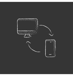 Synchronization computer with mobile device Drawn vector