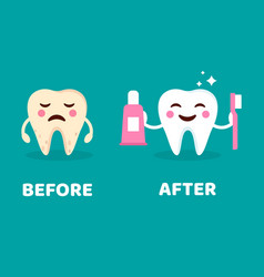 teeth care concept before and after brushing vector image