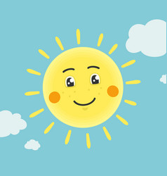 the cartoon sun character vector image