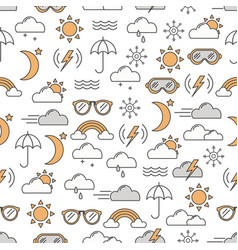 Thin line art weather seamless pattern vector
