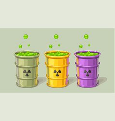 Three barrels with toxic waste set vector