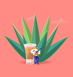 tiny male character wearing sombrero playing vector image