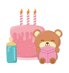 Toy bear and birthday cake vector
