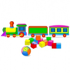 toy train and blocks vector image