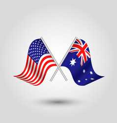 Two crossed american and australian flags vector