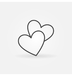 Two hearts line icon vector