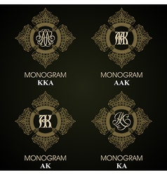 Vintage Monograms - 4 sets - monograms series vector image