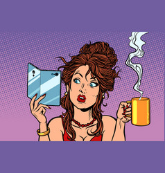 woman drinking coffee or tea a smartphone with a vector image