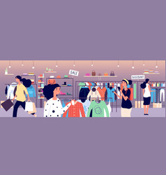 women in clothing store people shoppers choosing vector image