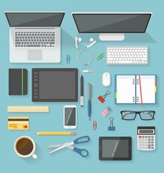 Workspace elements top view set vector