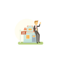 young realtor are offering new house for sale to vector image