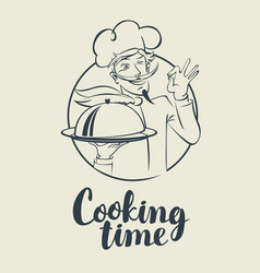 banner with words cooking time and winking chef vector image