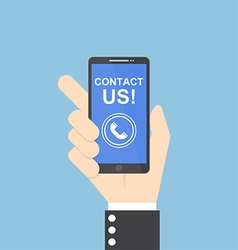 Businessman hand holding smartphone contact us vector image