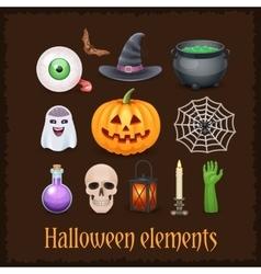 Happy Halloween elements on dark background vector image vector image