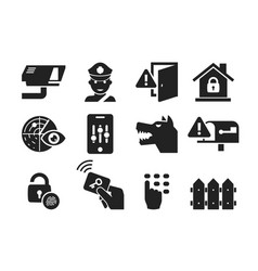 home security icon set 03 vector image vector image