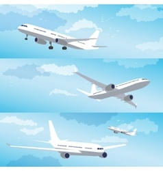 Modern airplane flying through clouds set vector image