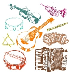Musical instruments icons color set vector image