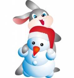 rabbit and snowman vector image