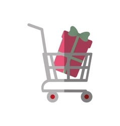 shopping cart online boxes gift color shadow vector image vector image