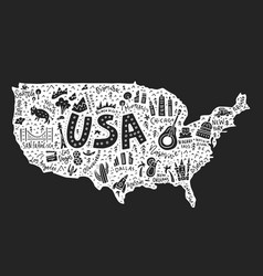 the cartoon map of usa vector image